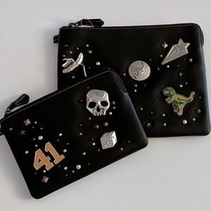 Embellished Coach Black Leather Zip Pouch Set